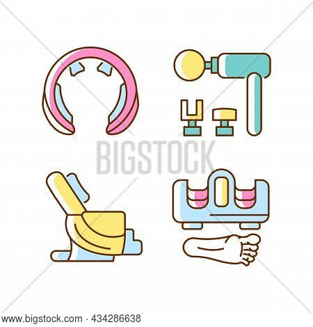 Vibrating Massagers Rgb Color Icons Set. Massage Chair. Devices For Neck And Feet Stimulation. Body