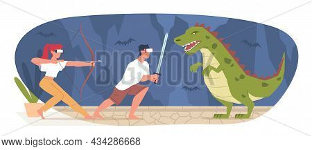 Virtual Reality Gaming. People With Vr Glasses. Guy And Girl Fighting With Dinosaur. Entertainment S