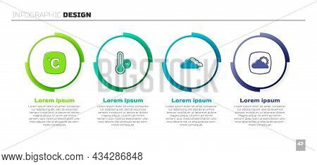 Set Celsius, Meteorology Thermometer, Cloud And Weather Forecast. Business Infographic Template. Vec