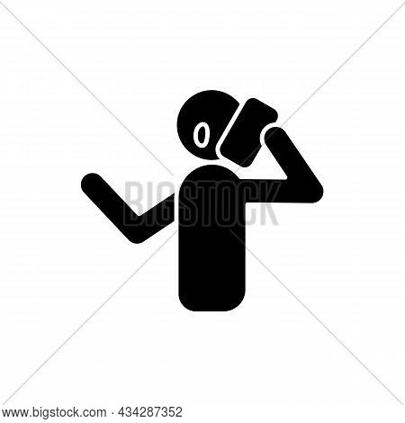 Talk Via Phone Black Glyph Icon. Making Telephone Call. Phone Conversation. Communication With Peopl