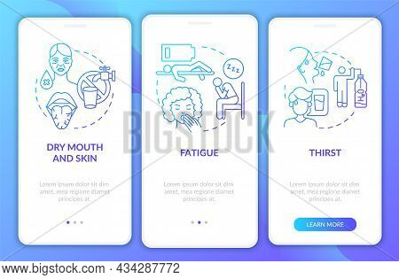 Dehydration Symptoms Blue Gradient Onboarding Mobile App Page Screen. Water Loss Walkthrough 3 Steps