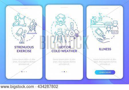 Increased Fluid Consumption Blue Gradient Onboarding Mobile App Page Screen. Walkthrough 3 Steps Gra