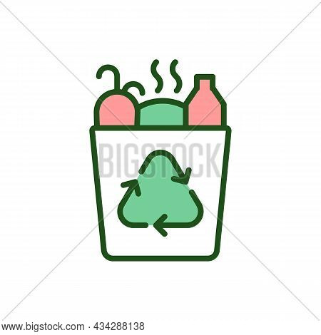 Trashcan Full Of Garbage Rgb Color Icon. Waste Recycling Sign On Bin. Environmental Protection. Coll