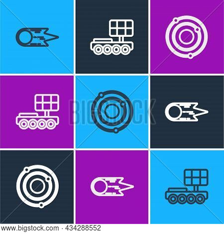 Set Line Comet Falling Down Fast, Solar System And Mars Rover Icon. Vector