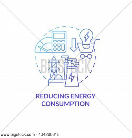 Reducing Energy Consumption Concept Icon. Common Initiative Abstract Idea Thin Line Illustration. Sa