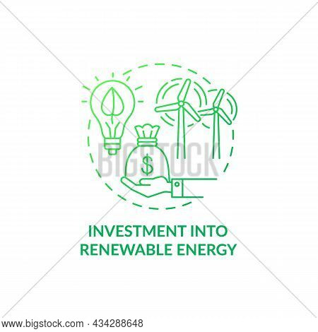 Investment Into Renewable Energy Concept Icon. Reducing Air Pollution Abstract Idea Thin Line Illust