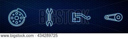 Set Line Bicycle Brake, Disc, Wrench Spanner And Chain With Gear. Glowing Neon Icon On Brick Wall. V