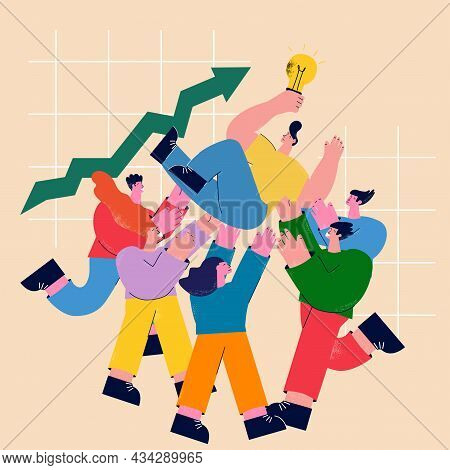 Teamwork, Friendship, Cheerful Group Of People Celebrating Flat Vector Illustration. Business Cowork