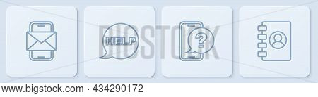 Set Line Mobile And Envelope, Telephone 24 Hours Support, Speech Bubble With Text Help And Address B