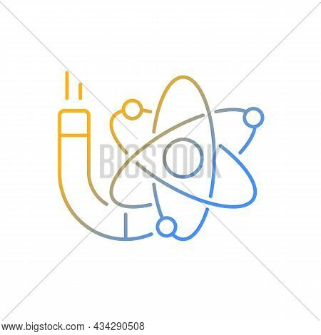 Physics Gradient Linear Vector Icon. Image Of Atom, Electrons, Protons, Neutrons. Stydying Of Matter