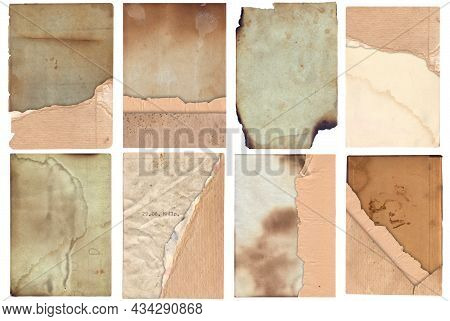 Bunch Of Old Vintage Texture Retro Paper With Burned Edges, Stains And Scratches Background