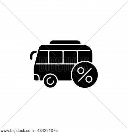 Commuting Assistance Black Glyph Icon. Company-paid Travel To Workplace. Employee Transportation. Re
