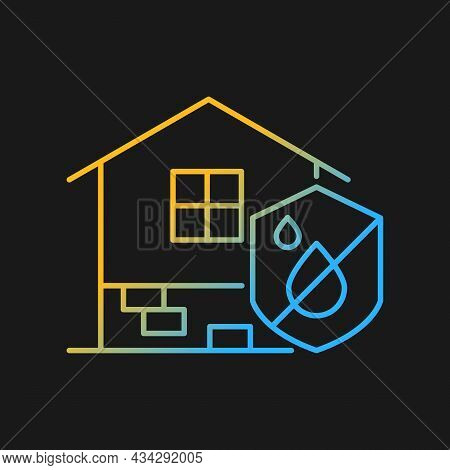 Resistance To Dampness Gradient Vector Icon For Dark Theme. Damp Proofing. Building Moisture Resista