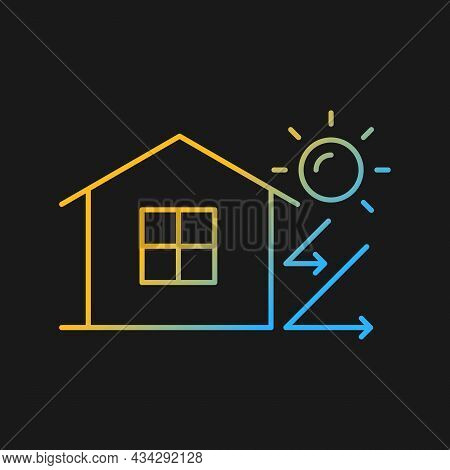 Heat Insulation Gradient Vector Icon For Dark Theme. House Isolation. Thermal Insulation. Energy-eff
