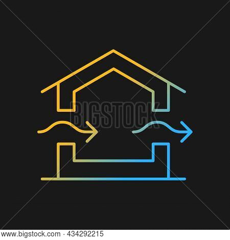 Ventilation System Gradient Vector Icon For Dark Theme. Providing Natural Ventilation In Building. P