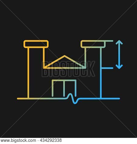 Parapet Walls Minimum Height Gradient Vector Icon For Dark Theme. Existing Roof System Extensions. S