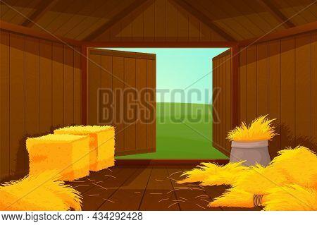 Inside Barn House. Cartoon Farm Wooden, Hay Or Straw Inside. Door Open Into Meadow, Shed For Instrum
