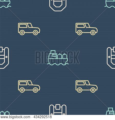 Set Line Rafting Boat, Car And Oil Tanker Ship On Seamless Pattern. Vector