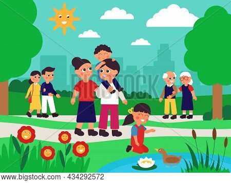 Family Walking In Park. Different Persons In City Garden, Happy Walk With Children. Cute Cartoon Kid