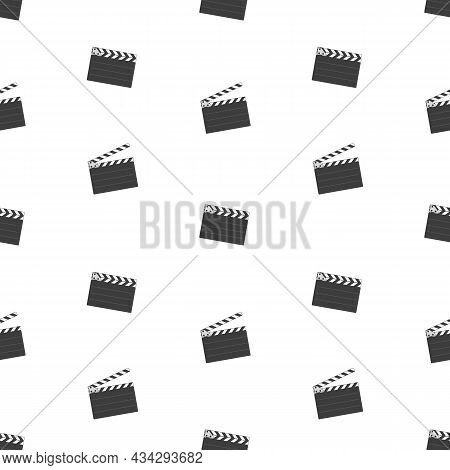 Simple Clapper Board Seamless Background. Opened Movie Film Clap Board Texture. Template Of Clapperb