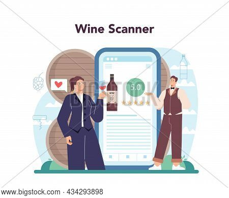 Sommelier Online Service Or Platform. Specialist With A Glass