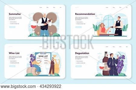 Sommelier Web Banner Or Landing Page Set. Specialist With A Glass