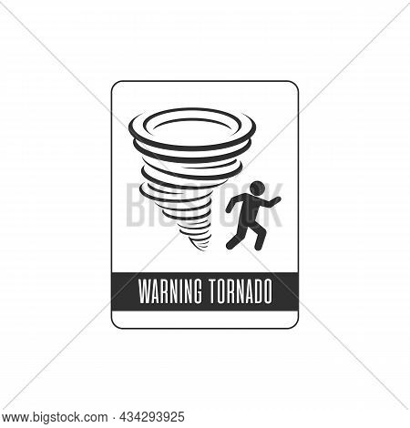 Tornado Icon. Whirlwind Storm Sign Isolated On White Background. Typhoon In The Linear Flat Style. V