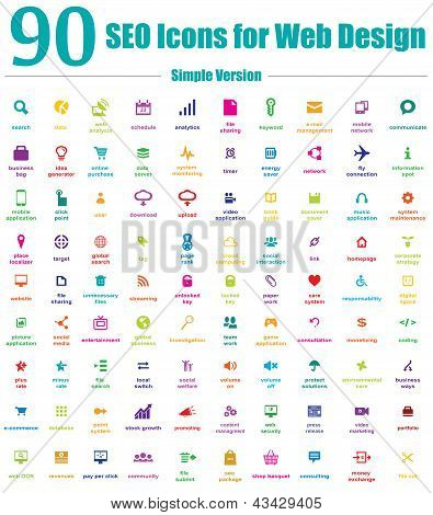 90 SEO Icons for Web Design - Simple Color Version