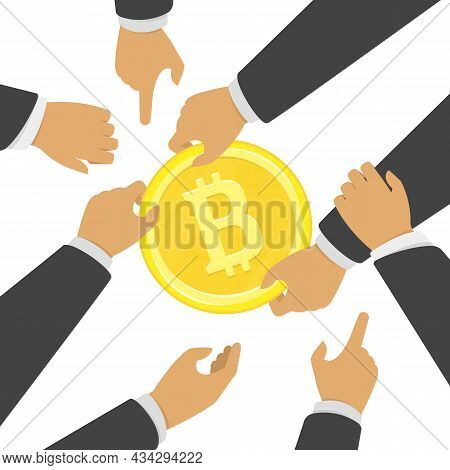 Struggle For Bitcoin, Vector Illustration. Concept Of Business Competition Marketing War. A Few Busi