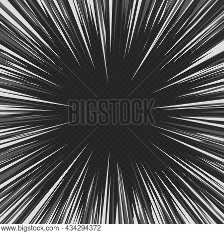 Comic Book Black And White Radial Lines Isolated On Transparent Background. Manga Speed Frame, Super