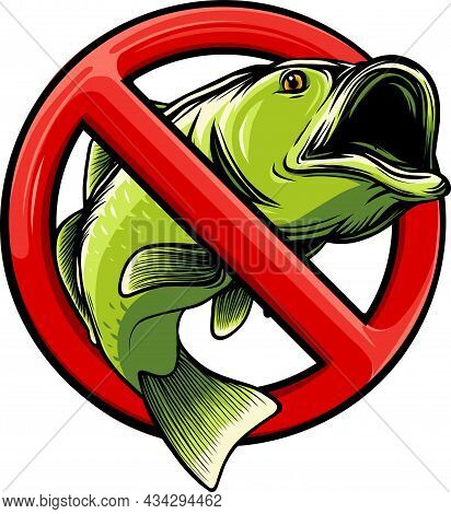 No Fish Sign Icon Isolated On White Background. Vector Illustration