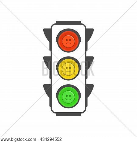 Traffic Light Icon In Flat Style. Semaphore Isolated On White Background. Simple Traffic Lights With