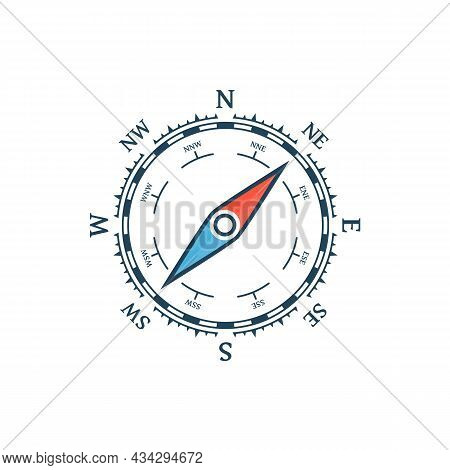 Compass Vector Icon. Nautical Compass Icon Isolated On White Background. Vintage Or Retro Nautical A
