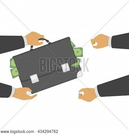 Businessman Giving Bag Of Dollars To Another Hand. Man Give Money, Receiving Money, Salary, Or Bribe