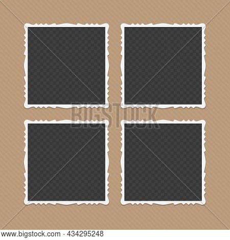 Collection Of Blank Photo Frames With Shadow Effects Isolated On Brown Background. Set Of Vintage Ph