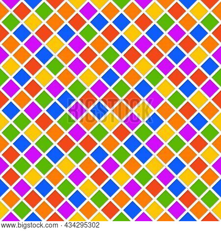 Abstract Colorful Geometric Background. Rhombus Geometric Background In Bright Colors. Multi Colored