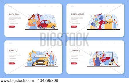 Car Service Web Banner Or Landing Page Set. Mechanic In Uniform Paint