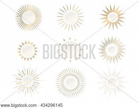 Sunrise Or Sunset Icon In Golden Color In Boho Style. Linear, Simple Logo Design, Sun Line Art. Suns