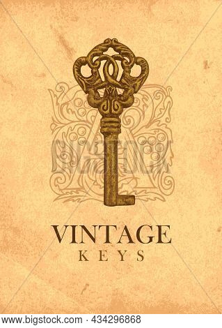 Vector Banner With Vintage Key And Ornate Initial Letter A On An Old Paper Background. Gold Antique