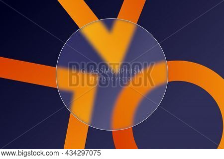 Glassmorphism Effect With Transparent Glass Plate On Blue Background With Bright Color Geometric Sha