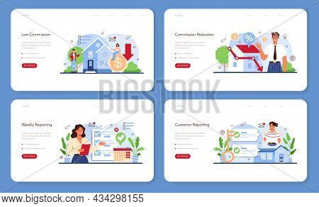 Real Estate Industry Web Banner Or Landing Page Set. Low Comission