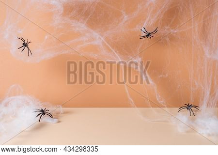 Spooky Halloween Modern Scene With Spider Web And Spiders. Autumn, Halloween Or Thanksgiving Season
