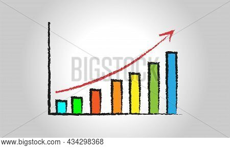 Business Graph. Statistics Graphic Isolated Icon. Graph Icon. Graph With Bars And Arrow Vector Icon.