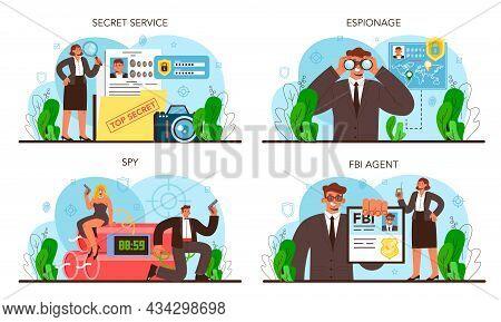 Spy Set. Secret Agent Or Fbi Investigating Crime. Protection Of Espionage