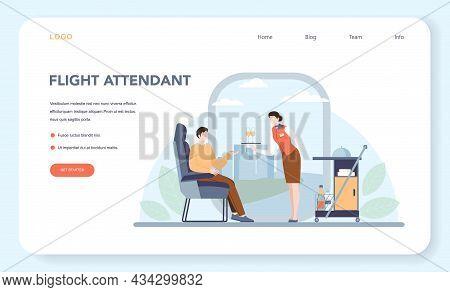 Stewardess Web Banner Or Landing Page. Flight Attendants Help Passenger