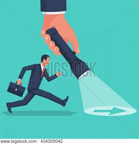 Point Direction. The Leader Shows The Way For Younger Employee. Flashlight Direction. Human Holds A