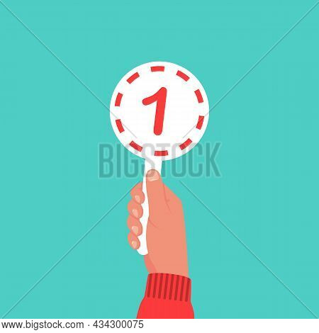 Score Card 1. Number Table. Digit Rating On A Scorecard. Human Hand Holding Score Card. Colored Scor