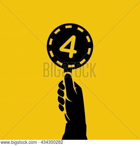 Score Card 4. Number Table. Digit Rating On A Scorecard. Human Hand Holding Score Card. Black Scorec