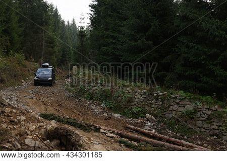 Modern Black Van On Pathway In Forest