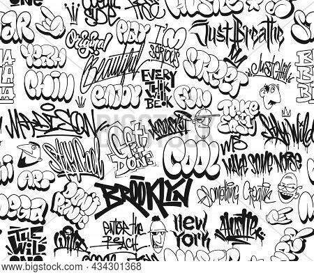 Vector Graffiti Tags, Seamless Pattern. T-shirt Design, Textile, Banner.